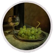 Still Life With Wine And Green Grapes Round Beach Towel