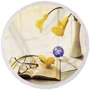 Still Life - Yellow Calla Lilies Round Beach Towel