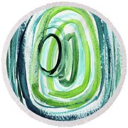 Still Orbit 9- Abstract Art By Linda Woods Round Beach Towel