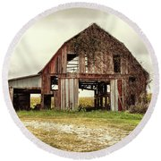 Round Beach Towel featuring the photograph Still Standing Ohio Barn  by Betty Pauwels