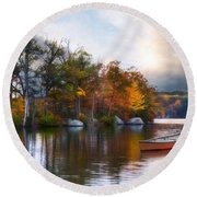 Round Beach Towel featuring the photograph Still Water Lake by Robin-Lee Vieira