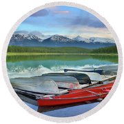 Round Beach Towel featuring the photograph Still Waters At Lake Patricia by Tara Turner