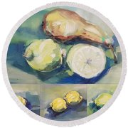 Still With Lemon And Pear Round Beach Towel