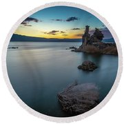 Stillness...mono Lake Round Beach Towel
