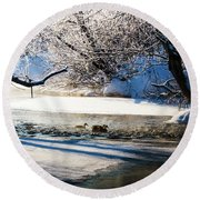 Stillwater Winter Round Beach Towel