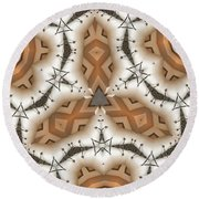 Round Beach Towel featuring the digital art Stitched 2 by Ron Bissett