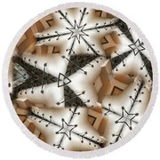 Round Beach Towel featuring the digital art Stitched 3 by Ron Bissett