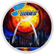 Stl Blues  Darkened Round Beach Towel