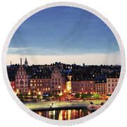 Stockholm By Night Round Beach Towel