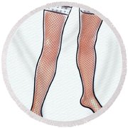Stocking Legs Pop Art Round Beach Towel
