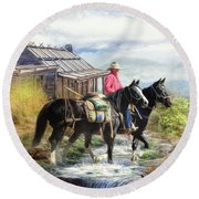 Stockman Of The Snowy Round Beach Towel