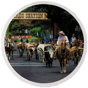 Stockyards Cattle Drive Round Beach Towel