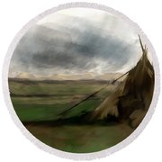 Round Beach Towel featuring the painting Stolen Spirit  by Iconic Images Art Gallery David Pucciarelli