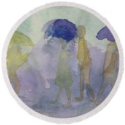 Stomping In The Rain Round Beach Towel by Vicki  Housel