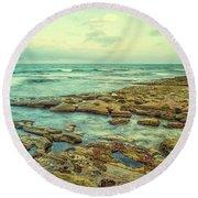 Stone And Sea Round Beach Towel by Joseph S Giacalone