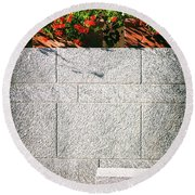 Round Beach Towel featuring the photograph Stone Bench With Flowers by Silvia Ganora