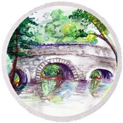 Stone Bridge In Early Autumn Round Beach Towel