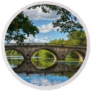 Stone Bridge Over The River 590  Round Beach Towel