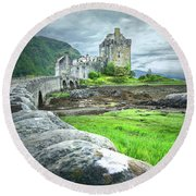 Stone Bridge To The Castle Round Beach Towel