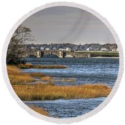 Round Beach Towel featuring the photograph Stone Bridge At Mills Gut Colt State Park by Tom Prendergast