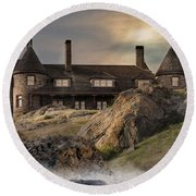 Round Beach Towel featuring the photograph Stone Castle Newport by Robin-Lee Vieira