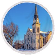 Stone Chapel In Winter Round Beach Towel