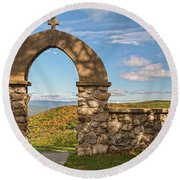 Stone Church In Autumn Round Beach Towel