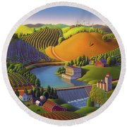 Stone City West Round Beach Towel by Robin Moline