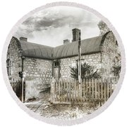 Round Beach Towel featuring the photograph Stone Cottage by Wayne Sherriff