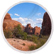 Stone Gods 0f Arches Round Beach Towel by Angelo Marcialis
