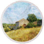 Provence Countryside Round Beach Towel