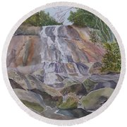 Round Beach Towel featuring the painting Stone Mountain Falls April 2013 by Joel Deutsch