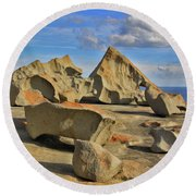 Stone Sculpture Round Beach Towel