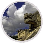 Stone Sky And Clouds Round Beach Towel