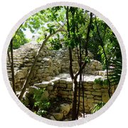 Round Beach Towel featuring the photograph Stone Steps In The Jungle by Francesca Mackenney