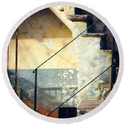 Round Beach Towel featuring the photograph Stone Steps Outside An Old House by Silvia Ganora