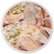 Round Beach Towel featuring the photograph Stone Tablet In Valley Of Fire by Ray Mathis