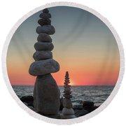 Stone Tower By The Beach Round Beach Towel