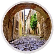 Stone Town Of Groznjan Old Street  Round Beach Towel