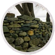 Stone Wall, Colt State Park Round Beach Towel