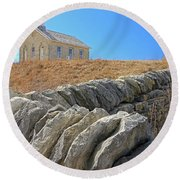 Stone Wall Education Round Beach Towel