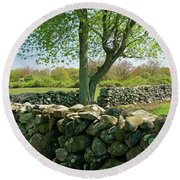 Stone Wall In Rhode Island Round Beach Towel
