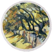 Stone Wall Olive Grove Terrace Round Beach Towel