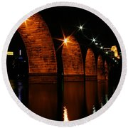 Stonearch Bridge - Minneapolis Round Beach Towel