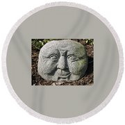 Round Beach Towel featuring the photograph Stoneface by Charles Kraus