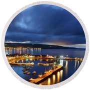 Stonehaven Harbour At Night Round Beach Towel