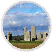 Round Beach Towel featuring the photograph Stonehenge 4 by Francesca Mackenney