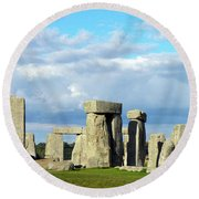 Round Beach Towel featuring the photograph Stonehenge 5 by Francesca Mackenney