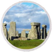Round Beach Towel featuring the photograph Stonehenge 6 by Francesca Mackenney