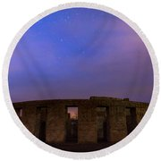 Round Beach Towel featuring the photograph Stonehenge Sunrise by Cat Connor